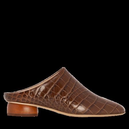 Rejina Pyo Gaby Leather Croc Mules - Brown