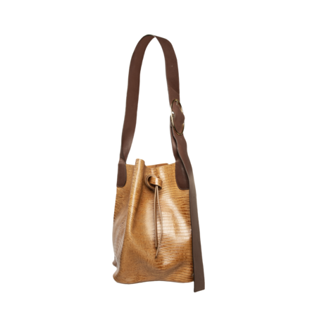 Rejina Pyo Marlene Leather Emboss Lizard Bag - Brown