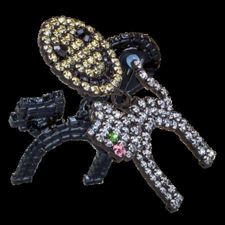 Ashley Williams Smiley Cat Clip-On Earrings - Multi Crystal