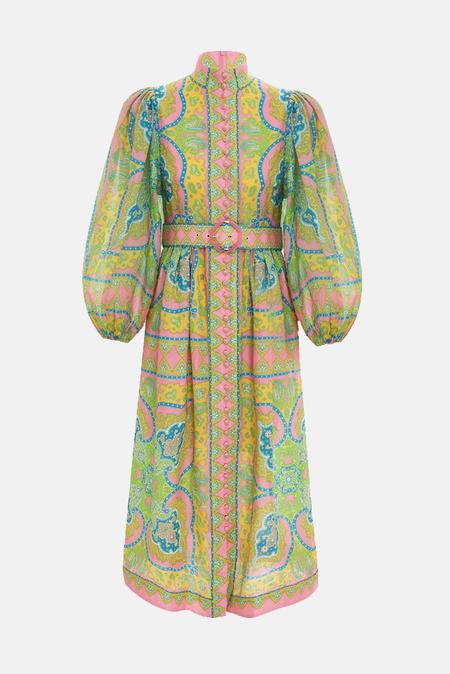 Zimmermann Estelle Buttoned Midi Dress - Pink/Green