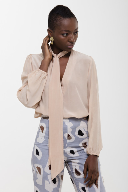 Osei-Duro Tie-neck Blouse in Onion Skin