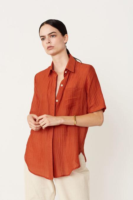 Megan Huntz Camp Silk Cotton Shirt - Terracotta