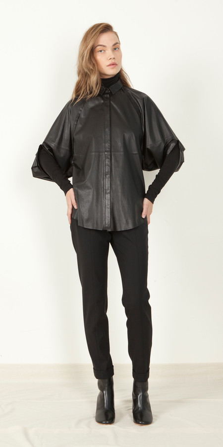 SCHAI Crescent Leather Shirt