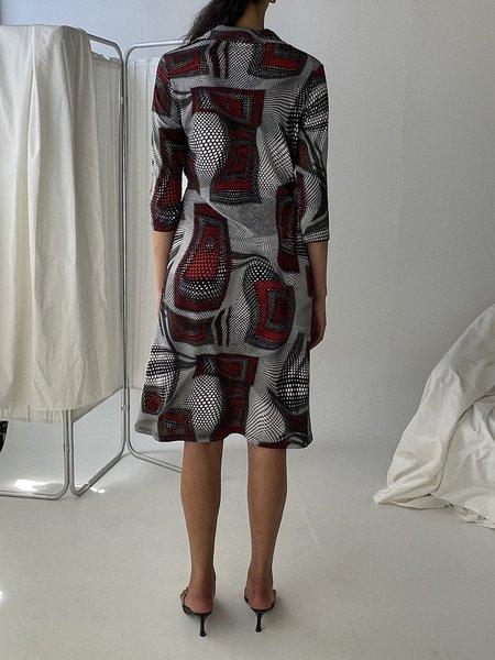 Vintage Op Art Print Dress - multi