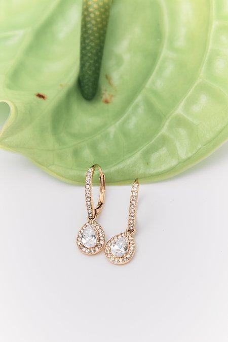 Pre-loved Tear-Shaped Embellished Earrings - Goldtone