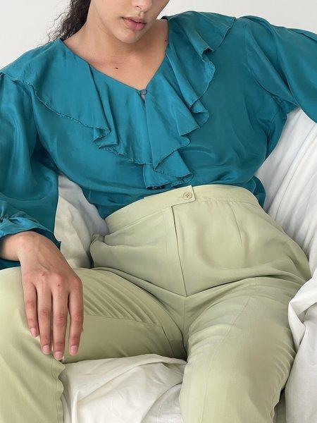Vintage Silk Ruffle Blouse - teal
