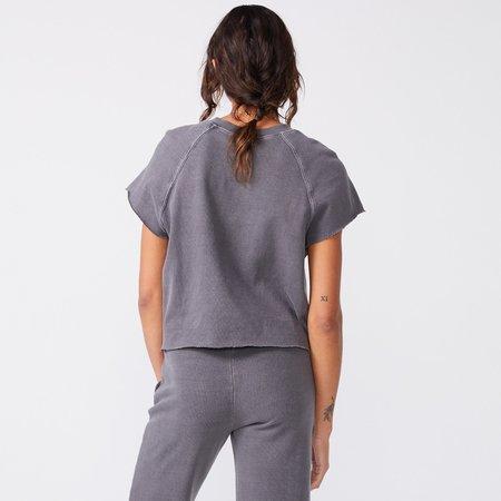 Monrow Short Sleeve Raglan Sweatshirt - Vintage Black