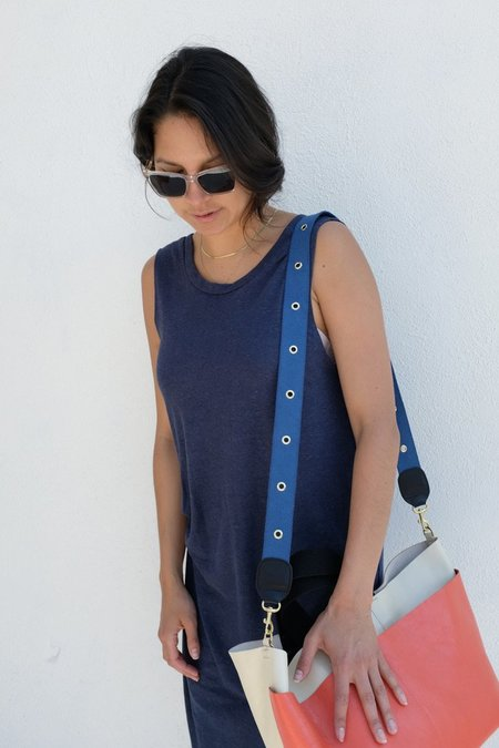 Clare V. Crossbody Strap Webbing with Grommets - French Blue