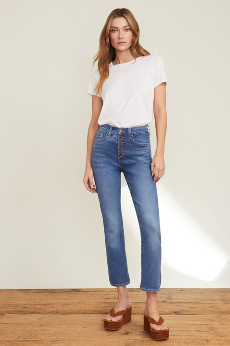 Veronica Beard Carly High Rise Kick Flare With Button Fly Jeans - Astra
