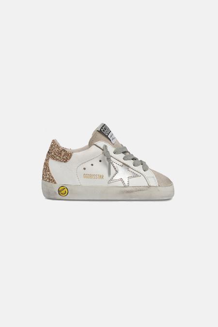 kids Golden Goose Superstar Shoes - White/Silver