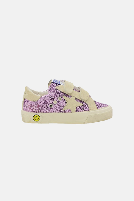 kids Golden Goose May Sneakers Shoes - Lavender Glitter/Beige Star