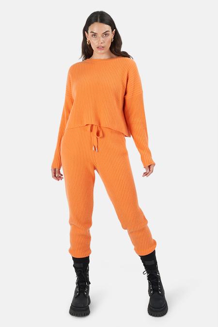 The Tile Club Florence Ribbed Bottom Pants - Orange