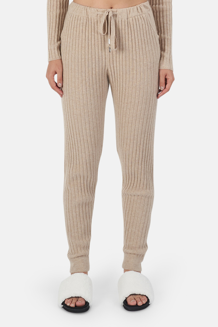 The Tile Club Abbey Lightweight Ribbed Bottom Pants - Beige