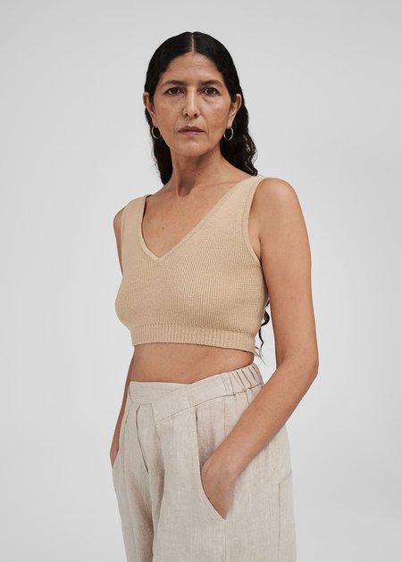 Mónica Cordera long knit top - straw