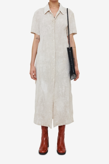 Our Legacy Narrow Shirt Dress - White Coated Cotton Linen