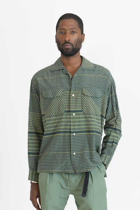 TS(S) Cotton Silk Cloth Round Flap Pocket Baggy Shirt - Green Wide Pitch Gingham Plaid