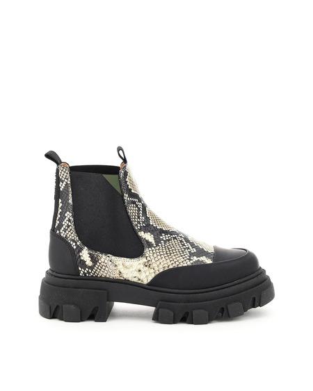 Ganni Leather Chelsea Boots - Python Print