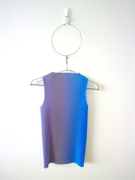 Kitty Joseph - Iridescent Stripe Pleated High-Neck Top