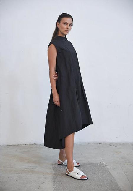 Simply Mila Asymmetric High Neck Gaia Dress - black