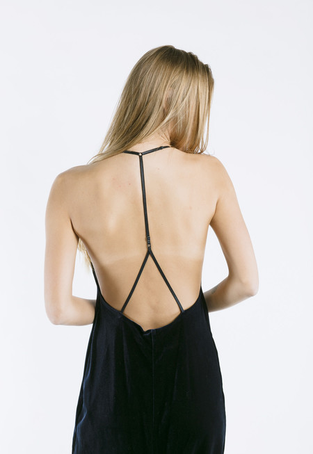 ROCKET X LUNCH Velvet Slip Dress in Navy