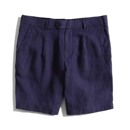 Far Afield PLEATED LINEN SHORTS - ENSIGN BLUE