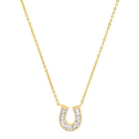 tai Baguette Horseshoe Necklace - Gold