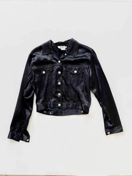 Vintage Satin Cropped Jacket - black