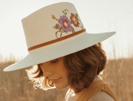 Freya Floral Cross Stitch Hat - Cream