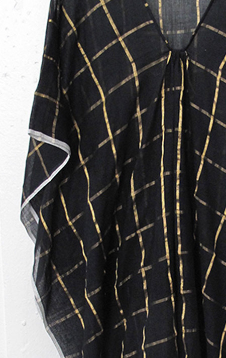 Two Caftan - Black/Gold Metallic Grid