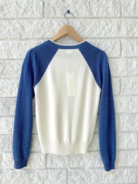 Veronica Beard Albertina Cashmere Sweater - Ivory/Blue