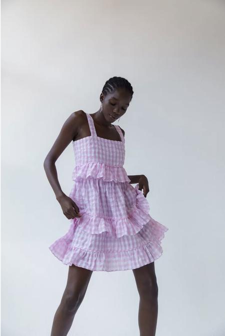 Tach Clothing AMARAL Gingham Dress - purple