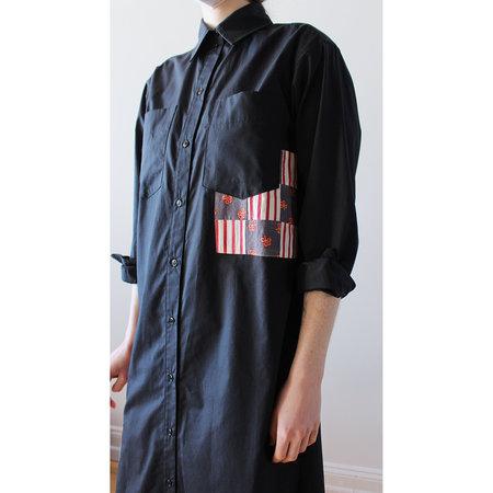 Carleen Long Patchwork Roadt rip Shirtdress - Black
