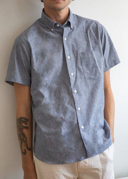 Steven Alan Short Sleeve Single Needle Shirt - Chambray