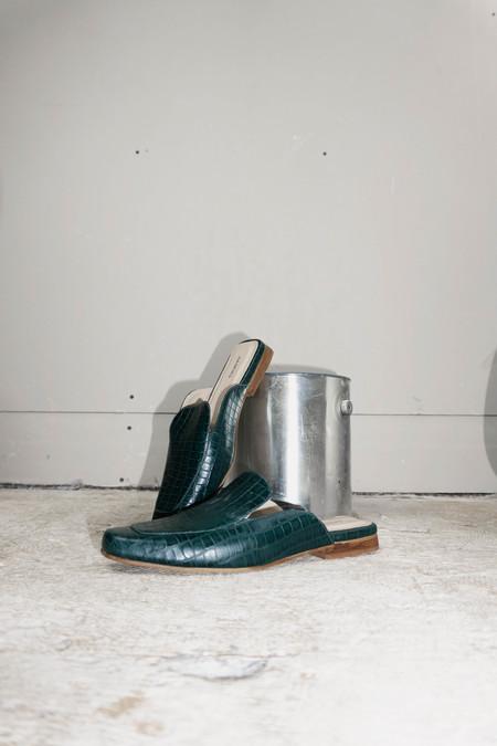 [Pre-loved] Kaanas Croc Embossed Berlin Mule Slide - Emerald