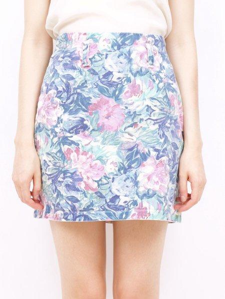 Vintage Erin Templeton floral jean skirt - pastel florals