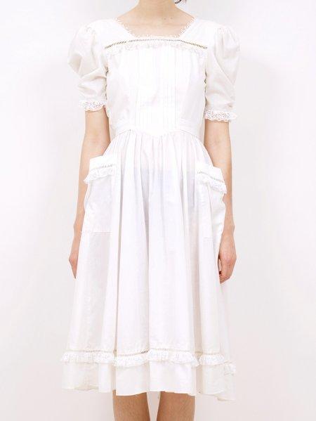 Vintage 1970's gunne wrap around pocket sax dress - white