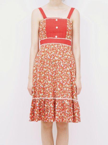 vintage 70s floral apron dress - red/multi