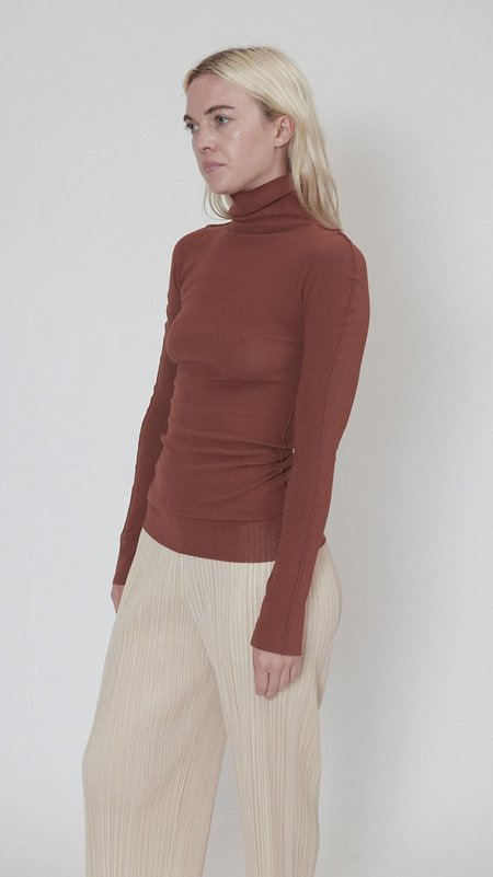 Issey Miyake Cotton Baguette A-POC Long Sleeve Top - Brown