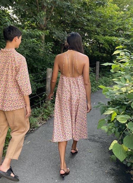 KAAREM Needle Halter Print Dress w/ Removable Straps - Pink Garden