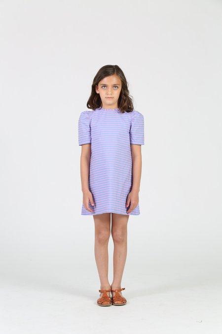 Kids Little Olin Balloon Sleeve Stripe Dress - Purple