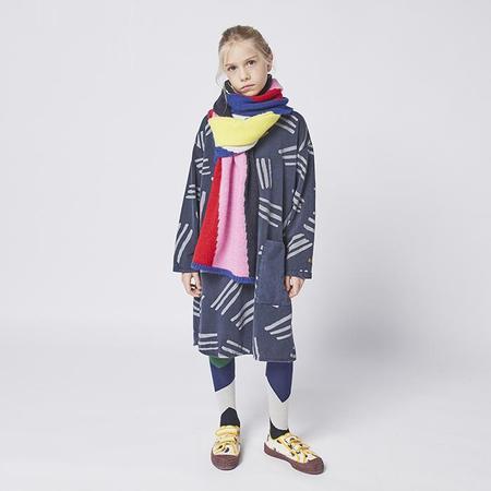 kids Bobo Choses Child Fleece All Over Scratches Print Dress - Navy Blue
