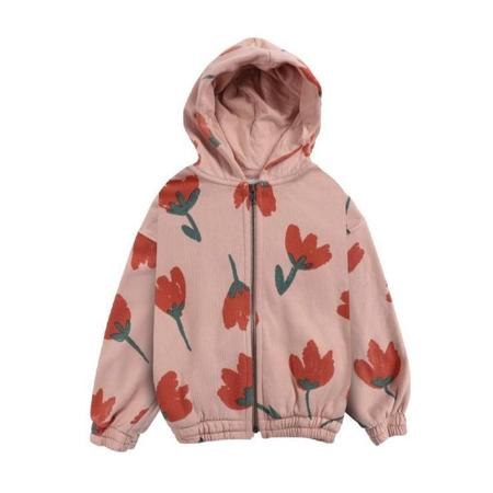 kids bobo choses big flowers all over zipped hoodie sweater - pink