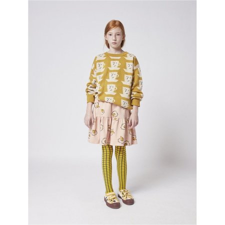 kids unisex bobo choses cup of tea all over knitted jumper sweater - yellow