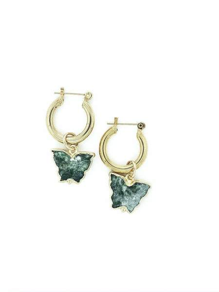 LAZULI Butterfly Stone Charm Gold Thick Small Hoop Earrings - Gold/Green