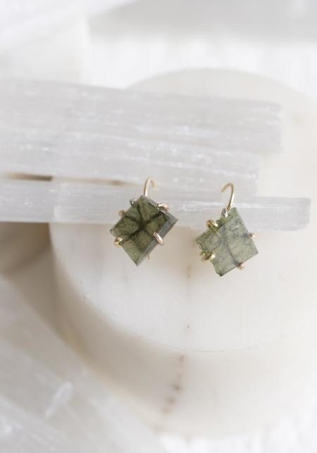 Variance Objects Moldavite Hook Earrings - 14KT/18KT Gold