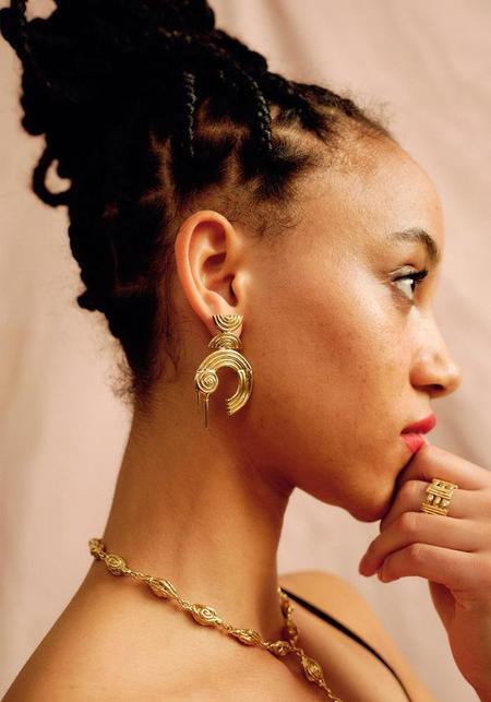 Ruby Jack Olda Earrings - Brass