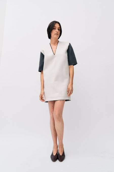 [Pre-Loved] Balenciaga Wool-Blend Dress - Cream/Grey