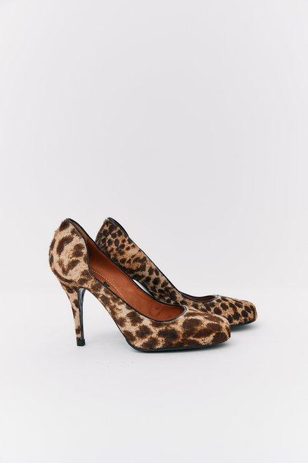 [Pre-Loved] Lanvin Leopard Pony Hair Heels, Size 38.5