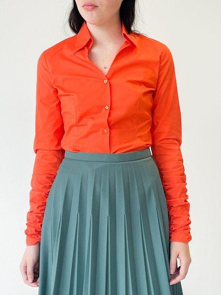 Vintage Ruched Sleeve Blouse - Tangerine