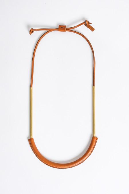 Crescioni Bare Circuit Necklace in Saddle Brown
